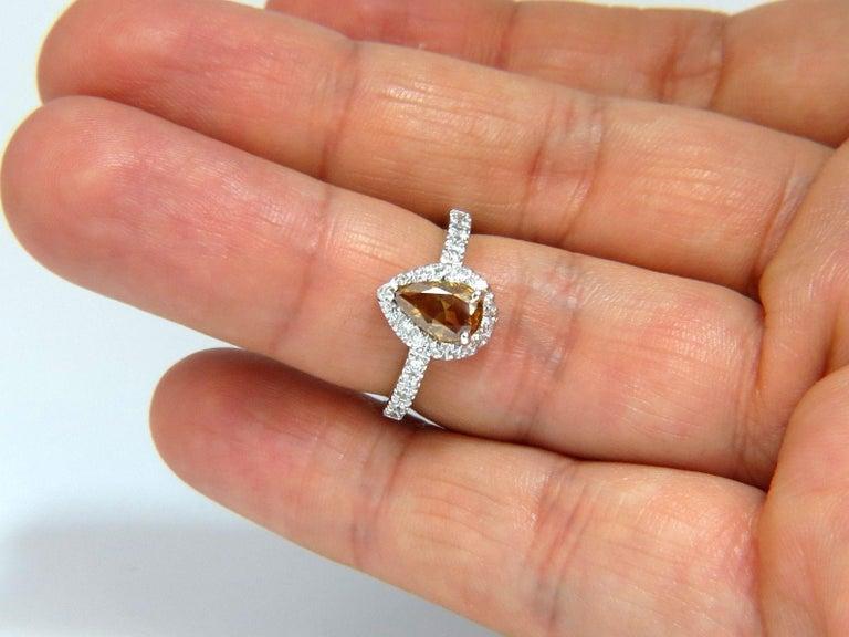 Women's or Men's 1.60 Carat Natural Fancy Color Yellow Brown Diamonds Halo Ring 14 Karat For Sale