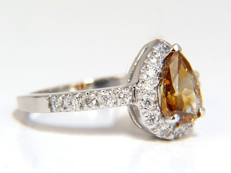 1.60 Carat Natural Fancy Color Yellow Brown Diamonds Halo Ring 14 Karat For Sale 1