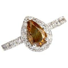 1.60 Carat Natural Fancy Color Yellow Brown Diamonds Halo Ring 14 Karat