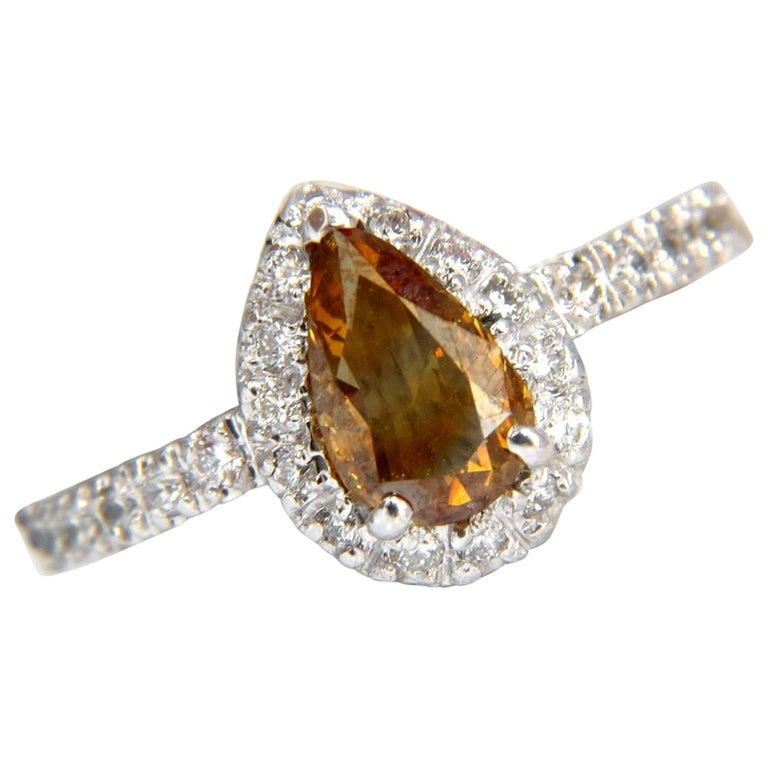 1.60 Carat Natural Fancy Color Yellow Brown Diamonds Halo Ring 14 Karat For Sale