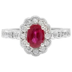 1.60 Carat Natural Red Ruby and Diamond 14 Karat Solid White Gold Ring