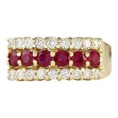1.60 Carat Natural Ruby 18 Karat Yellow Gold Diamond Ring