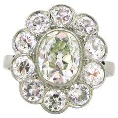 1.60 Carat Oval Cushion Cut Diamond Cluster Edwardian Platinum Engagement Ring