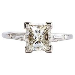 1.60 Carat Princess Cut Diamond 3-Stone Engagement Ring