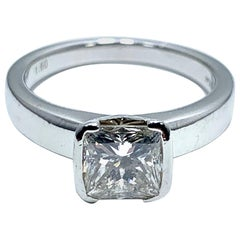 1.60 Carat Princess Cut Diamond and Platinum Engagement Ring