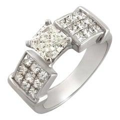 1.60 Carat Princess Cut Diamonds 18 Karat White Gold Engagement Ring