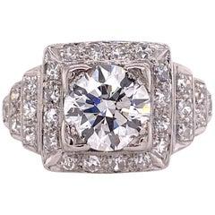 1.60 Carat Round Brilliant Diamond Platinum Vintage Engagement Ring GIA H/SI2