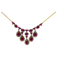 16.0 Carat Ruby 4.50 Carat White Diamond Yellow Gold Necklace