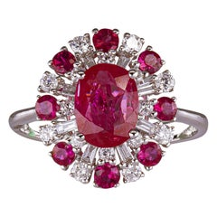 1.60 Carat Ruby Ring with Diamonds 18 Karat Gold