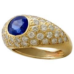 1.60 Carat Sapphire 1.20 Carat Diamond Yellow Gold Cocktail Ring