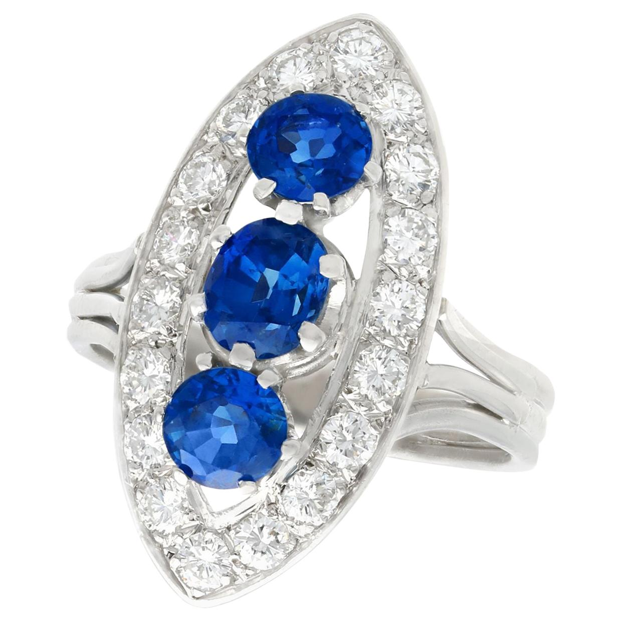 1.60 Carat Sapphire and 1.05 Carat Diamond White Gold Cluster Ring