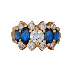 1.60 Carat Sapphire and Diamond Gold Cluster Ring