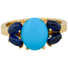 1.60 Carat Sapphire with Turquoise Cabochon Ring 18 Karat in Stock