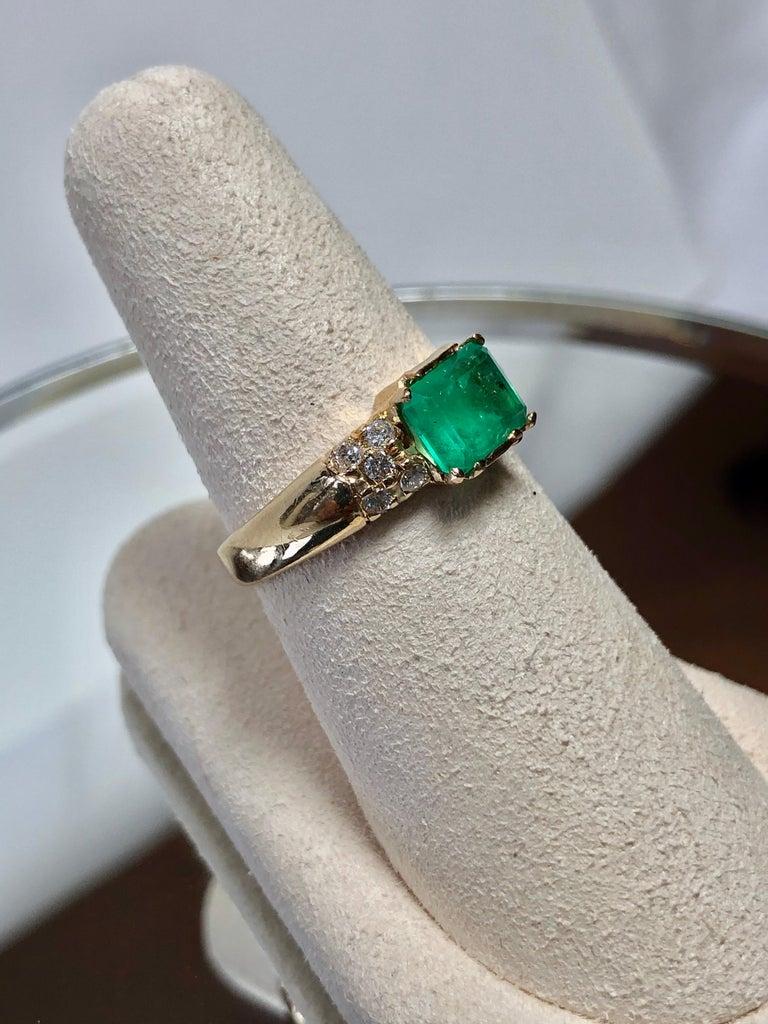 Emerald Cut 1.60 Carat Vintage Natural Emerald Ring Diamond Accents 14 Karat Yellow Gold For Sale