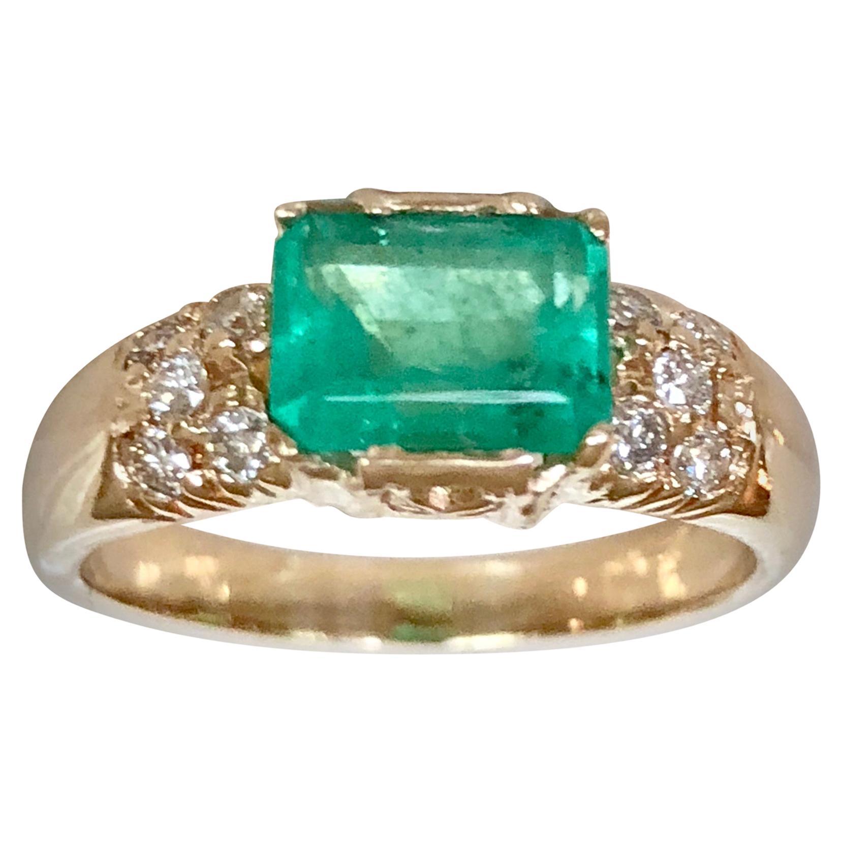 1.60 Carat Vintage Natural Emerald Ring Diamond Accents 14 Karat Yellow Gold