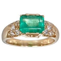 1.60 Carat Vintage Natural Emerald Ring Diamond Accents 14 Karat Yellow Gold