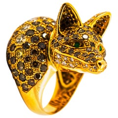 1.60 Carat White Diamond 7.52 Carat Brown Diamond Emerald Yellow Gold Fox Ring