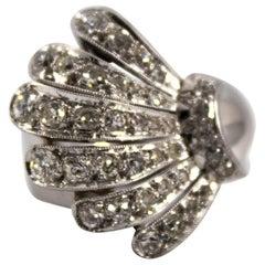 "1.60 Carat White Diamond White Gold ""Seashell"" Cocktail Ring"