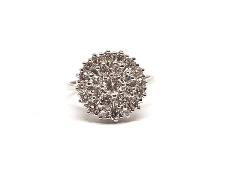 Contemporary 1.60 Carat White Gold Diamond Cluster Ring For Sale