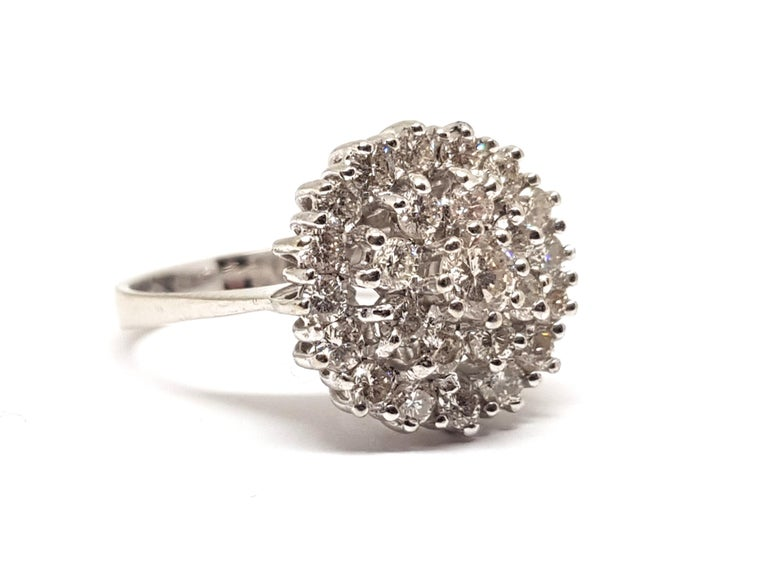 Round Cut 1.60 Carat White Gold Diamond Cluster Ring For Sale