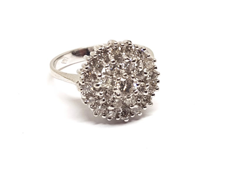 1.60 Carat White Gold Diamond Cluster Ring For Sale 2