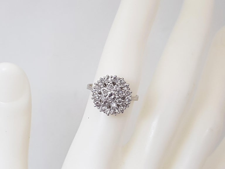 1.60 Carat White Gold Diamond Cluster Ring For Sale 3