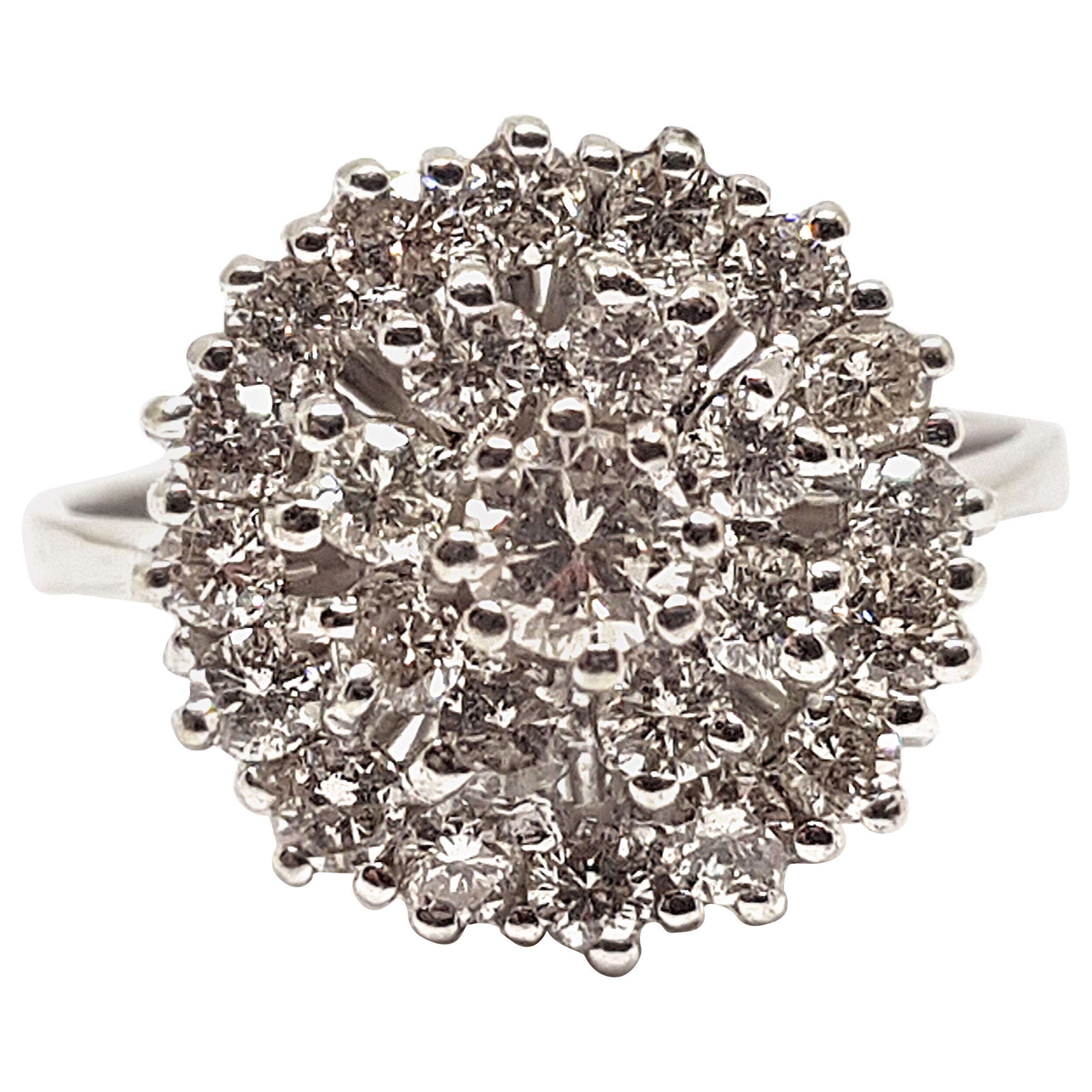 1.60 Carat White Gold Diamond Cluster Ring