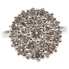 1.60 Carat White Gold Diamond Cluster Ring