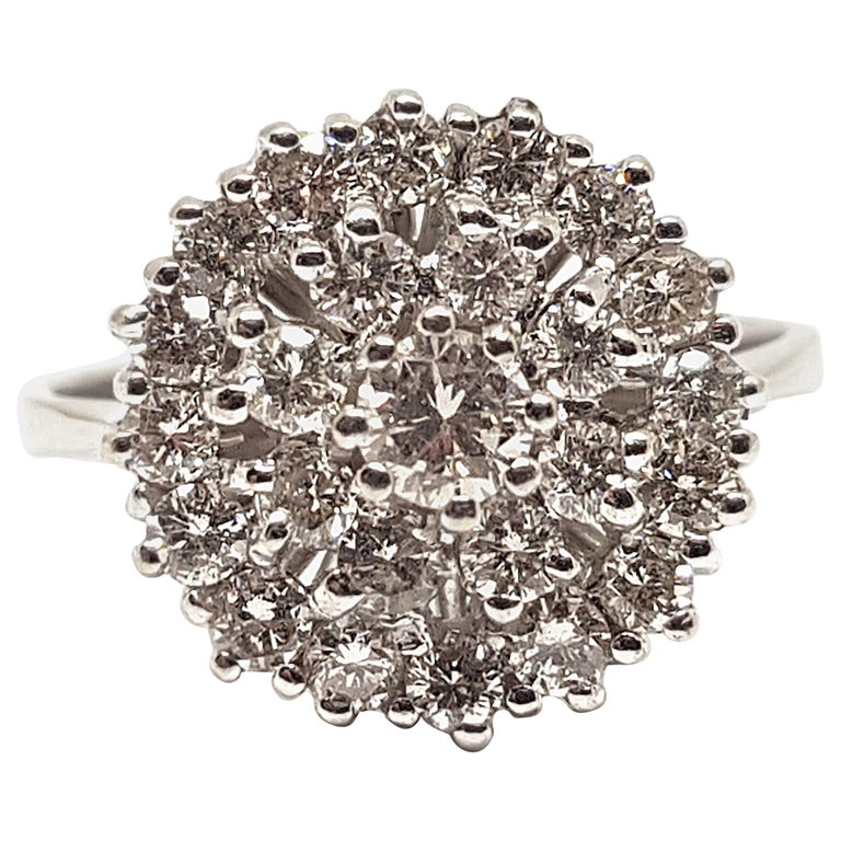 1.60 Carat White Gold Diamond Cluster Ring For Sale
