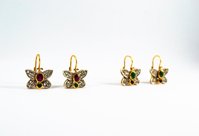 1.60 Carat White Rose Cut Diamond Emerald Ruby Yellow Gold