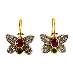 "1.60 Carat White Rose Cut Diamond Emerald Ruby Yellow Gold ""Butterfly"" Earrings"