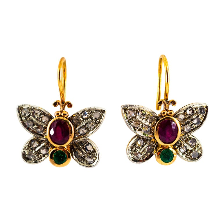 "1.60 Carat White Rose Cut Diamond Emerald Ruby Yellow Gold ""Butterfly"" Earrings For Sale"