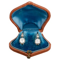 1.60 Carat Diamonds Antique Belle Époque Earrings