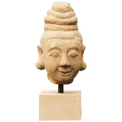 1600-1700th Century Burmese Sculpture of Female Head Carved in Sandstone