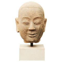 16th-17th Century Burmese Temple Buddha Head in Sandstone