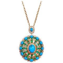 16.00 Carat Emerald Turquoise Diamond 18 Karat Gold Pendant Necklace
