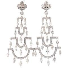 16.00 Carat Natural Diamonds Deco Long Chandelier Dangle Earrings