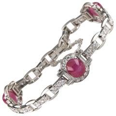 16.00 Carat Star Ruby and Diamond 18 Karat White Gold Bracelet
