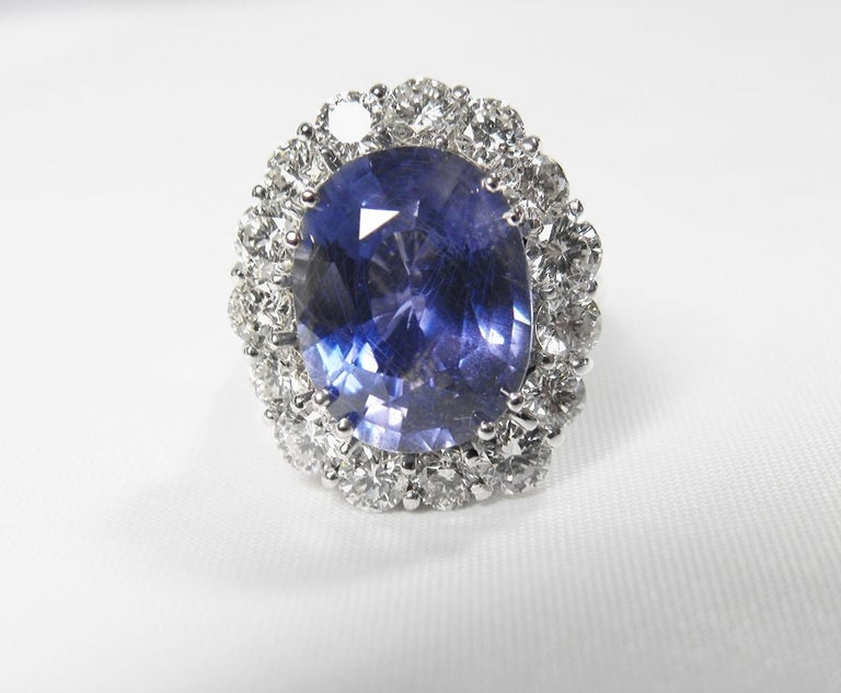 GIA 16.00 Carat Certified Natural Unheated Sapphire and Diamond White Gold Ring For Sale 6