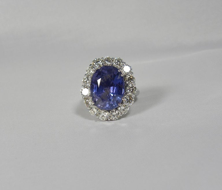 GIA 16.00 Carat Certified Natural Unheated Sapphire and Diamond White Gold Ring For Sale 8