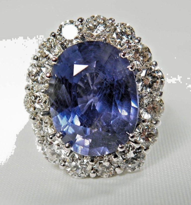 GIA 16.00 Carat Certified Natural Unheated Sapphire and Diamond White Gold Ring For Sale 9