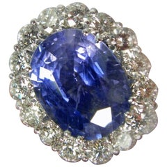 GIA 16.00 Carat Certified Natural Unheated Sapphire and Diamond White Gold Ring