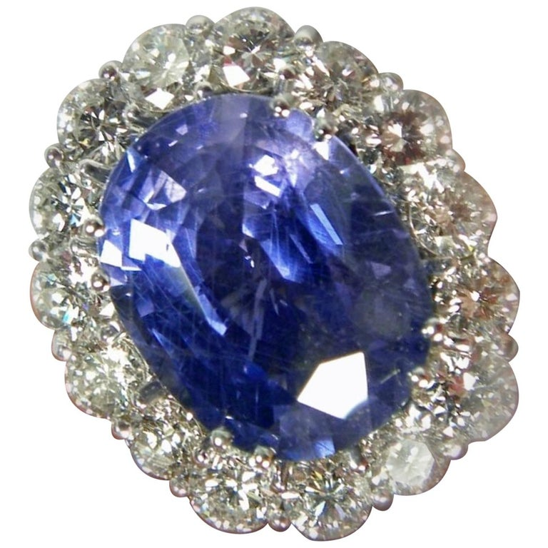 GIA 16.00 Carat Certified Natural Unheated Sapphire and Diamond White Gold Ring For Sale