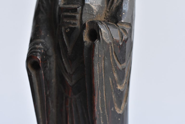 1600s-1800s Japanese Wood Carving Jizo Bodhisattva or Buddha Statue Edo Period For Sale 5