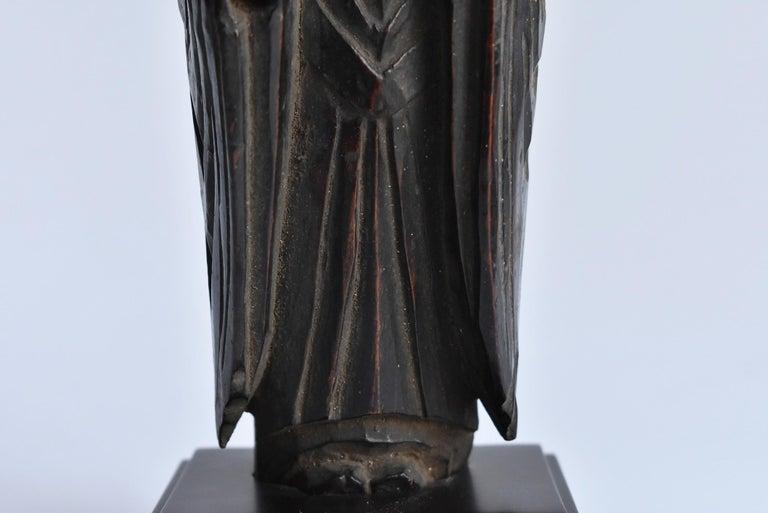 1600s-1800s Japanese Wood Carving Jizo Bodhisattva or Buddha Statue Edo Period For Sale 6