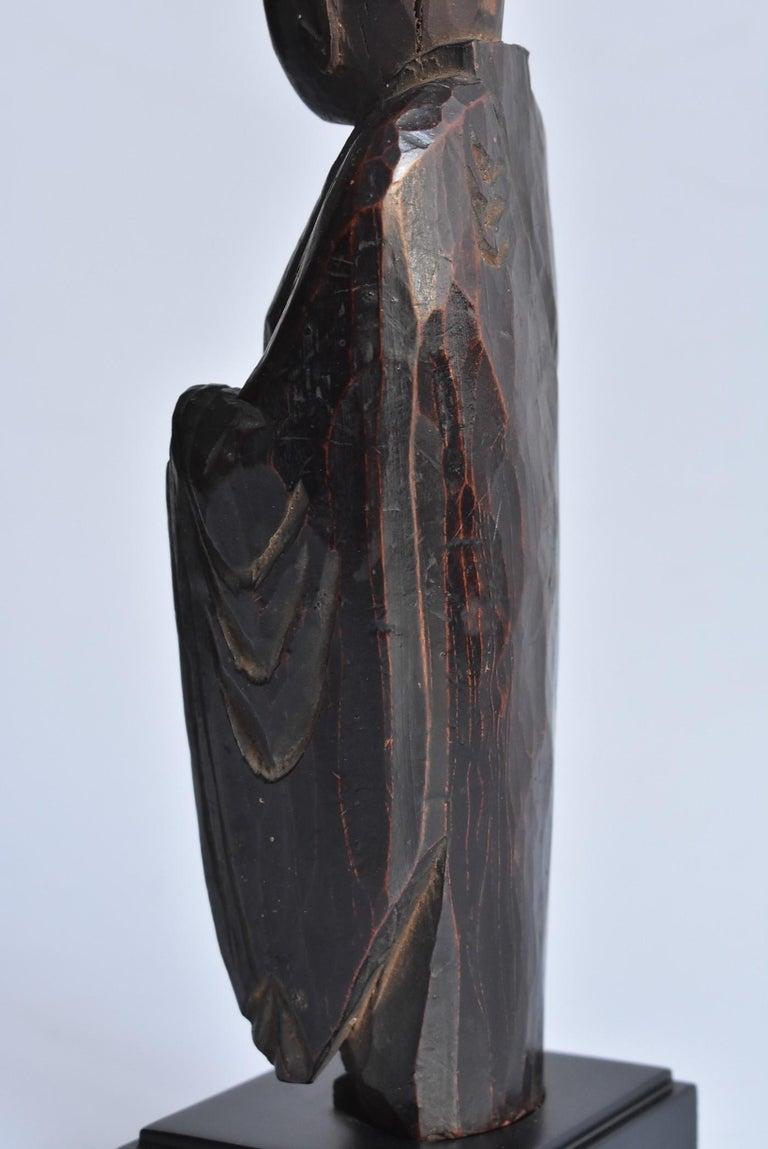 1600s-1800s Japanese Wood Carving Jizo Bodhisattva or Buddha Statue Edo Period For Sale 8