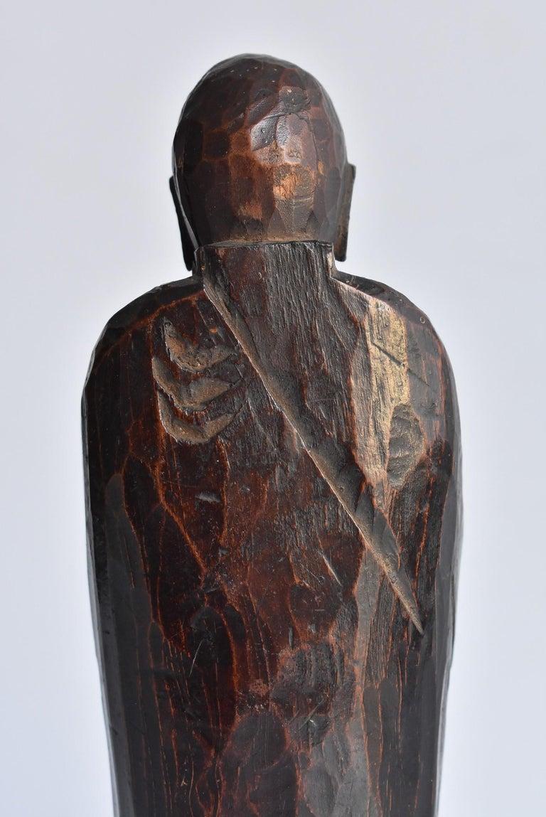 1600s-1800s Japanese Wood Carving Jizo Bodhisattva or Buddha Statue Edo Period For Sale 9