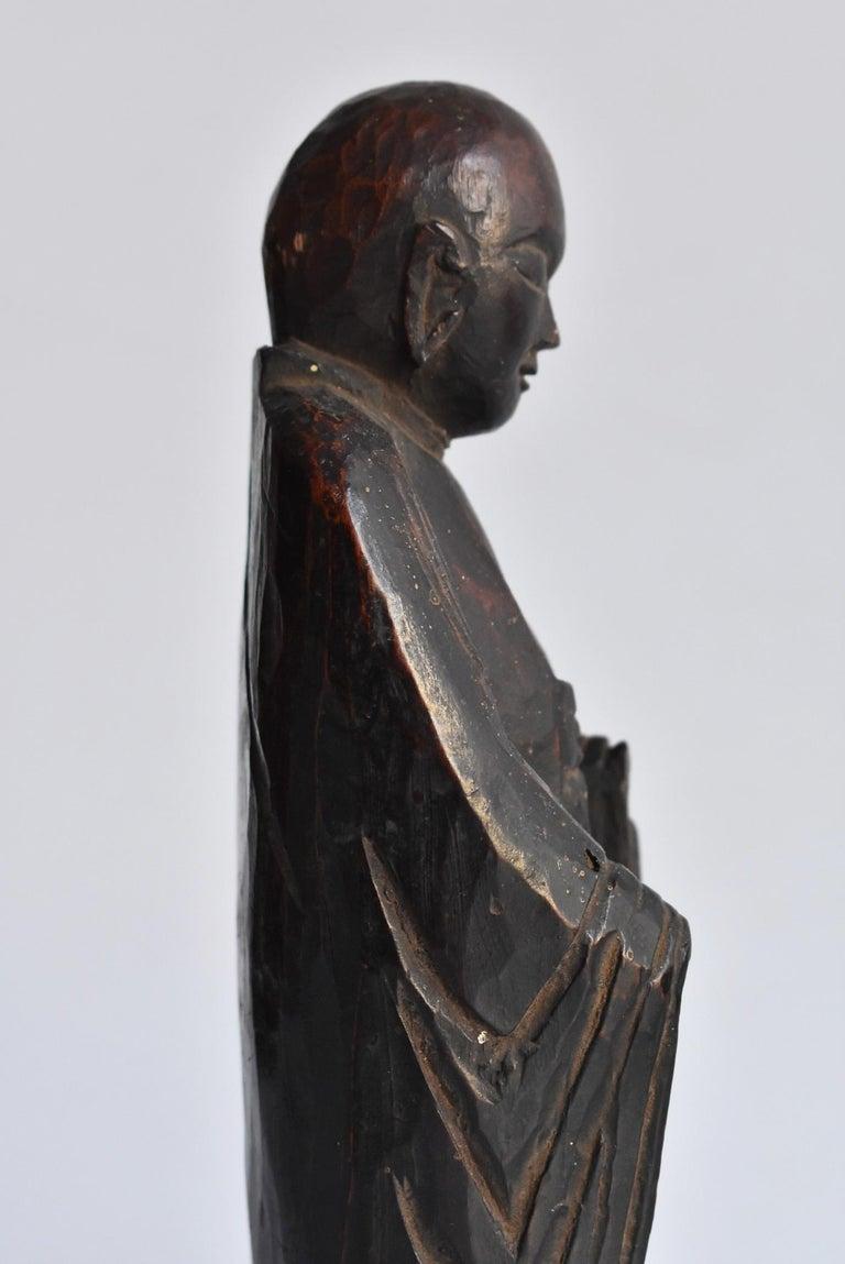1600s-1800s Japanese Wood Carving Jizo Bodhisattva or Buddha Statue Edo Period For Sale 11