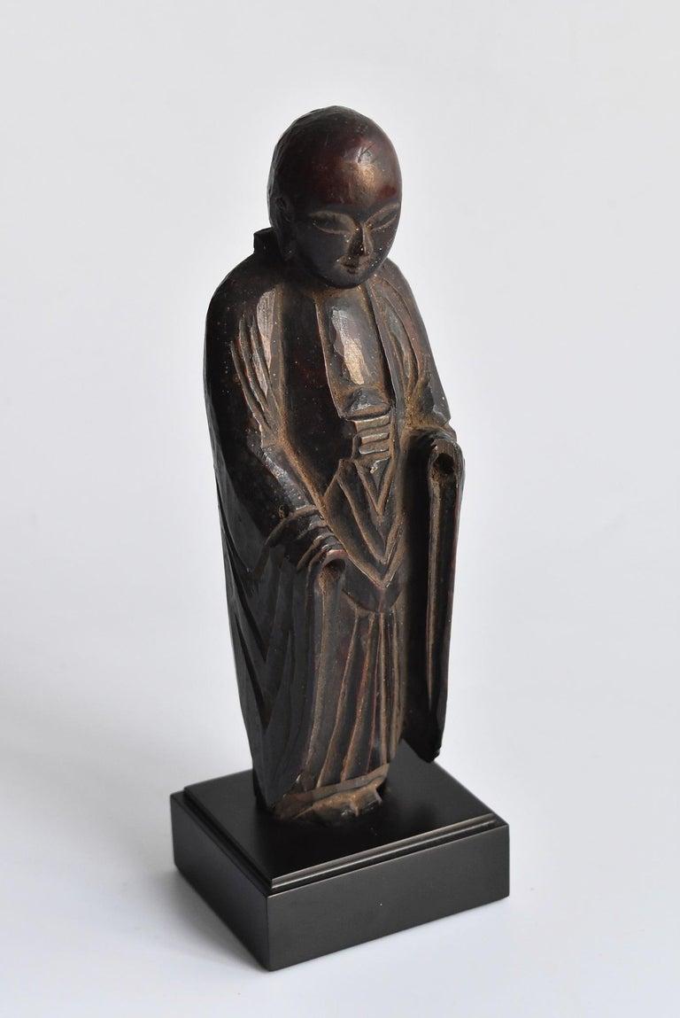 1600s-1800s Japanese Wood Carving Jizo Bodhisattva or Buddha Statue Edo Period For Sale 14