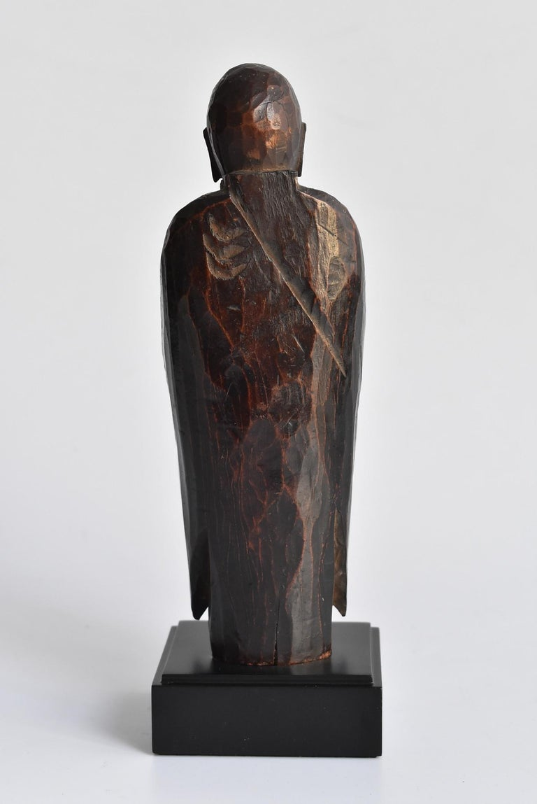 Hand-Carved 1600s-1800s Japanese Wood Carving Jizo Bodhisattva or Buddha Statue Edo Period For Sale